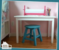 Directions for this stool!  4 of these would be perfect to go with the kids little table to replace the 2 folding chairs.