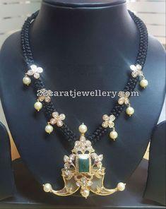 Black Dori Necklace with Puligoru Pendant - Indian Jewellery Designs Mens Gold Jewelry, Emerald Jewelry, Beaded Jewelry, Beaded Necklace, Bead Jewellery, Jewelery, Choker Necklaces, Latest Jewellery, Temple Jewellery