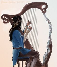 Fingon harping.  http://mauveshadow.tumblr.com/post/77745361807/could-you-draw-either-fingon-or-maglor-playing-his