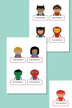 Superhero Self-Registration Labels with editable text boxes.