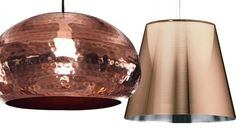 METALLISK LAMPE: Fra venstre: Taklampe i kobber, kr 600 (habitatstore.no),  «Ktribe S3»-pendel fra Flos, kr 6100 (illumsbolighus.no).