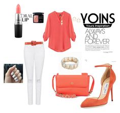 """""""yoins v neck blouse with adjustable sleeves"""" by agnesmakoni ❤ liked on Polyvore featuring Jimmy Choo, Etienne Aigner, Fendi, MAC Cosmetics and Christian Dior"""