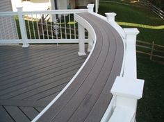 """Putting a bar rail on the deck for extra """"table top"""" seating area that's out of the way, handy, and a good use of space. Put potted plants on it when it's not in use"""