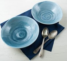 One Scalloped Porcelain Bowl Set in Teal and White by SuiteOneStudio $48 #etsy