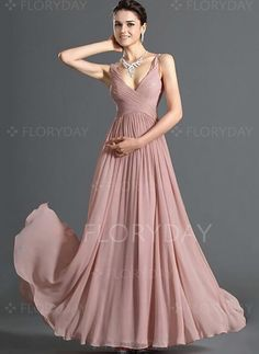 Bridesmaids Chiffon Dress Women Casual Deep V neck Backless Sexy Party Dress Sleeveless maxi pink Dresses vestidos Prom Gown Event Dresses, Formal Evening Dresses, Evening Gowns, Evening Party, Bride Dresses, Chiffon Dresses, Formal Prom, Dresses Dresses, Dresses 2013