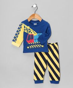 Sweet & Soft Blue Digger Long-Sleeve Tee & Pants - Infant by Sweet & Soft #zulily #zulilyfinds