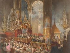 Painting by Mihály Zichy of the coronation of Tsar Alexander II and the Empress Maria Alexandrovna, which took place on 26 August/7 September 1856 at the Dormition Cathedral of the Moscow Kremlin. The painting depicts the moment of the coronation in which the Tsar crowns his Empress.