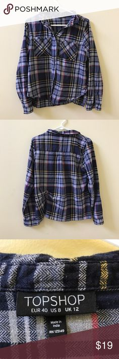 topshop blue plaid flannel navy blue flannel. boxy, slightly cropped fit. material is very thick and warm. two breast pockets. barely worn, condition 9/10!✨ Topshop Tops Button Down Shirts