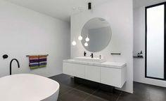 Sophisticated Home Design in Melbourne Celebrating Openness: Caroline Residence Beautiful Bathrooms, Modern Bathroom, Black Window Frames, Modern Townhouse, White Floor Lamp, White Home Decor, Laundry In Bathroom, House And Home Magazine, Bathroom Inspiration