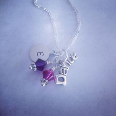 Sporty Girl Dance Word Hand Stamped Initial Necklace on Etsy, $20.00