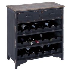 Wood wine cabinet in distressed black with two drawers and three rack shelves. Holds 18 bottles.     Product: Wine cabinet...