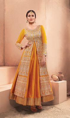 Yellow Dhupian Indo Western Anarkali Suit 58941