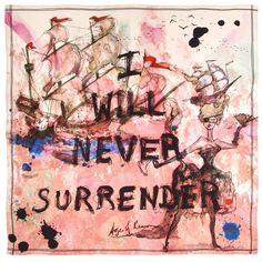 This striking square features a Punk Pirate Queen. The legend 'I Will Never Surrender' is emblazoned across the center of a fiery pink sea battle depicting the defiantly punk Pirate Queen. The scarf measures x Watercolor Print, Watercolor Illustration, Watercolor Paintings, Silk Painting, Pirate Queen, British Museum, Pocket Square, Timeless Design, Timeless Fashion