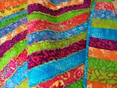 Fun and Bright Batik Rag Quilt on Etsy, $95.00
