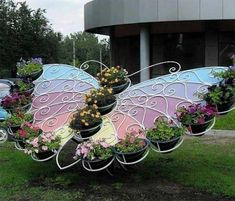 #7. Build a metal butterfly sculpture for displaying your garden planters:Truly Cool and Low-Budget Garden Decorations Inspired by Butterfly #gardeningdecoration
