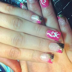 Camo nails with pink line instead nail art and color realtree pink and camo grad nails prinsesfo Image collections