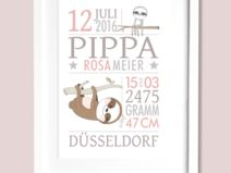 Geburtsanzeige Faultier personalisiert Kunstdruck