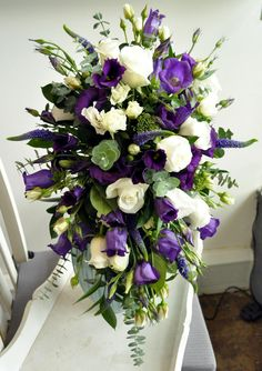 purple & white tear drop bridal bouquet designed by Angela Adlard Floristry Wirral