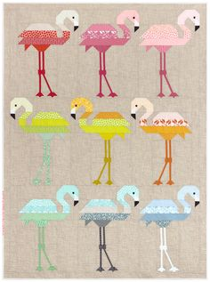 Small and Large Quilt Pattern by Elizabeth Hartman Use fabric strips to make a flock of colorful flamingos using conventional patchwork techniques. No paper piecing! Quilting Projects, Quilting Designs, Sewing Projects, Craft Projects, Quilt Baby, Vogel Quilt, Elizabeth Hartman Quilts, Barbie Vintage, Quilt Modernen