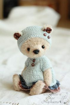 Eleshka By Olga Nechaeva - Good afternoon. I present to you my bear that name Eleshka. I sewed it by hand from hand-dyeing viscose. Inside, sawdust, and padding polyester granules. Feet and head for the pin. They're moving. Bear knows how to stand and sit. Height standing 16. 5 cm. The clothes c...