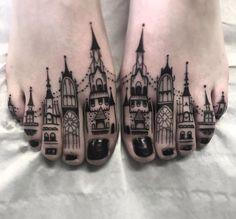 Toe Buildings Tattoo