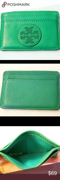 Tory Burch Card Holder Excellent condition! Buttery soft leather with TV logo. 100% authentic. 4 card slots with open middle compartment. Price firm, no trades- buy for $55 off our site www.chicboutiqueconsignments.com! Tory Burch Bags Wallets