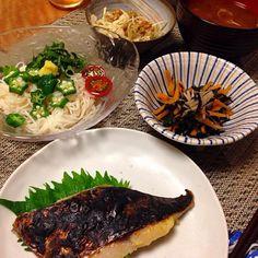 • サワラの西京漬け • おそうめん • ひじき煮 • キャベツ納豆 • なめこと長芋のお味噌汁 - 19件のもぐもぐ - サワラの西京漬け など by Sakiko
