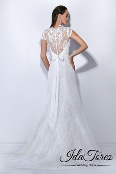 Stylish Trumpet-Mermaid V-Neck Natural Sweep-Brush Train Lace Ivory Cap Sleeve Buttons Wedding Dress Sashes 01034 #weddingdresses #cocomelody #designercollections