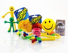Complete fiddle set of 10 items, including koosh balls, tangles and bendy men