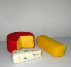 Wool Felt Play Food Cheese Assortment by EvaLauryn on Etsy