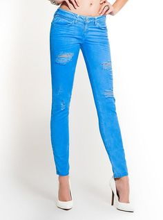 Brittney Ankle Skinny Destroyed Colored Jeans | GUESS.com