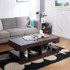 Furniture Of America Brahme Modern Espresso Brown Cut Out Coffee Table