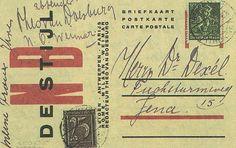 Theo Van Doesburg, De Stijl NB postcard. Netherlands (The Hague and Leiden), 1920