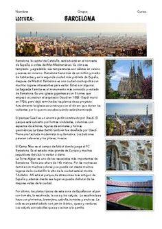 Spanish readings with comprehension questions about 7 Spanish cities: - Madrid - Barcelona - Segovia - Valencia - Ibiza - Sevilla - Bilbao Vocabulary: Places in town Climate and Weather Means of Transport People Buildings Typical Food Sightseeing You can also find all these texts as separated files in my shop.