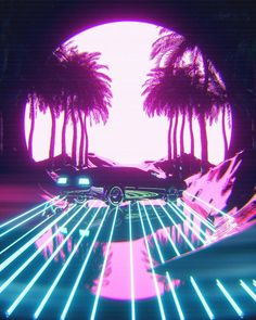 delorean car drifting on an outrun road next to palms miami wave retro new synthwave moon night Vaporwave Wallpaper, Cyberpunk Aesthetic, Neon Aesthetic, Cyberpunk Art, Retro Kunst, Retro Art, Vaporwave Art, Neon Wallpaper, Retro Waves