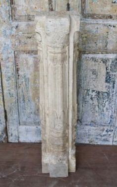 19th Century Sandstone Pillar with Ardash Plaster Work from a Haveli