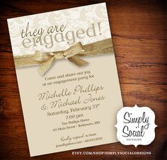 Lace Chic Creme and Gold Glitter Ribbon Engagement Party Invitation