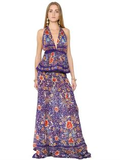ROBERTO CAVALLI - FLOWER PRINTED SILK GEORGETTE DRESS - DRESSES - MULTICOLOR - LUISAVIAROMA