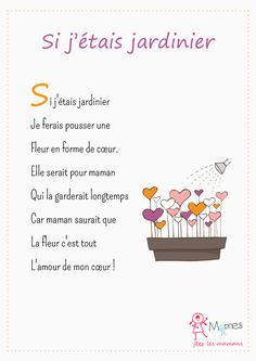 Si-j-etais-jardinier. Cadeau Parents, Activities For Kids, Crafts For Kids, Teacher Boards, Hallmark Cards, Teaching French, Mothers Day Crafts, Mother And Father, Kids Songs