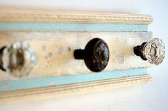 Weekend Tips: Fancy Way to Repurpose Old Items   by Courtney Craig. Doorknobs as coat hangers/key hangers!!!