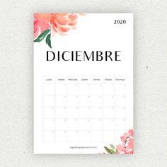 Calendario para imprimir 2020 - Papelería para Imprimir Bullet Journal Printables, Bullet Journal School, Bullet Journal Inspo, Print Calendar, Calendar Design, Diy Agenda, Diy Gifts For Him, Press On Nails, Printable Planner