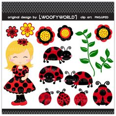 WA51 Lady Bug - Personal and Commercial Use digital clip art - ladybug,ladybird,polkadot,bugs,critters,girl,kids,flower,vines,cute,red,black. $4.49, via Etsy.