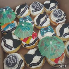#30th #bowties #moustaches #beach #playstationcontroller #cupcakes #cake #dlish Moustaches, Bowties, 30th, Happy Birthday, Cupcakes, Beach, Desserts, Drinks, Food