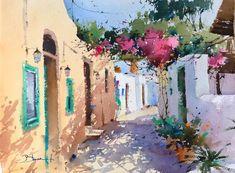 by Blanca Alvarez Watercolor Images, Watercolor Sketch, Watercolor Landscape, Watercolor And Ink, Landscape Art, Greece Painting, Watercolor Architecture, Fantasy Paintings, Urban Sketching