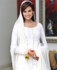 Mehreen Syed sparkling in white on her Nikah day. She wears a Chicken Kurta. White is Mehreen's favourite colour. #Mehreen Syed. #Mehdi. #White.