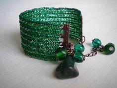 Emerald bracelet forest green bracelet deep green by MaaritJ, $32.00