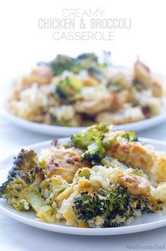 Creamy Chicken and Broccoli Casserole ~ An updated classic made better and without a can of condense soup | Real Food by Dad