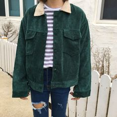 who gives a shit? @livingmorewithlu Jolly Club - Corduroy Button Jacket Kfashion Korean fashion Ulzzang Aesthetic Fashion