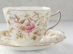 Vintage Rosina Tea Cup and Saucer Set Tea by RosebudsOriginals