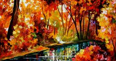 """STREAM OF AUTUMN — PALETTE KNIFE Oil Painting On Canvas By Leonid Afremov - Size 36""""X20"""""""